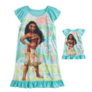Disney's Moana Girls Nightgown & Doll Nightgown